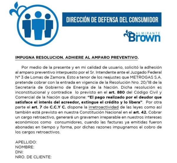 Presentación de un amparo en la justicia para frenar la suba en el gas en Alte Brown