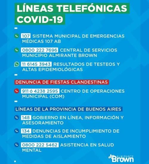 """En Almirante Brown difunden las """"líneas telefónicas covid-19"""""""