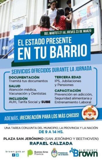 Servicios para los vecinos con el estado en tu barrio en Rafael Calzada