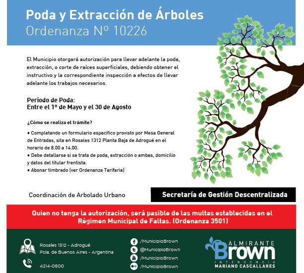Poda y extracción de árboles en Almirante Brown
